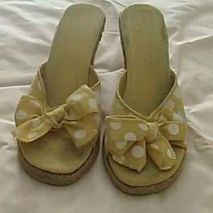 Yellow with white polka dots, wedge heel